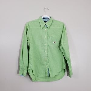 Tommy Hilfiger Green/White Plaid Long Slee…